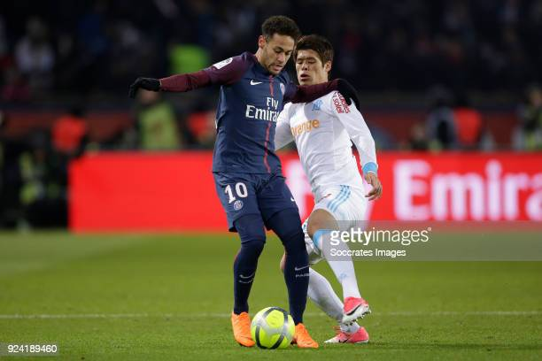 Neymar Jr of Paris Saint Germain Hiroki Sakai of Olympique Marseille during the French League 1 match between Paris Saint Germain v Olympique...