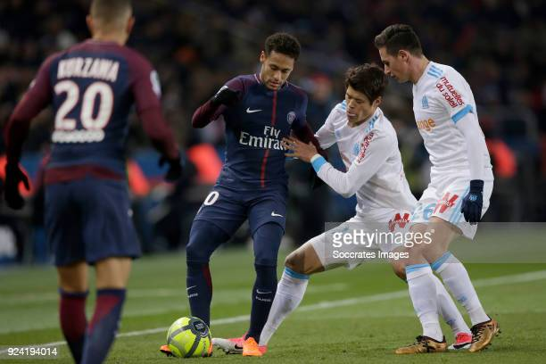 Neymar Jr of Paris Saint Germain Hiroki Sakai of Olympique Marseille Florian Thauvin of Olympique Marseille during the French League 1 match between...
