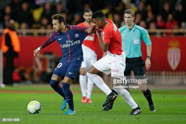Neymar Jr of Paris Saint Germain Jemerson of AS Monaco during the French League 1 match between AS Monaco v Paris Saint Germain at the Stade Louis II...