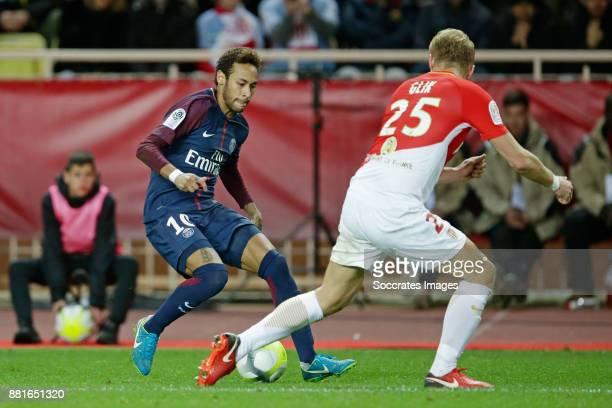 Neymar Jr of Paris Saint Germain Kamil Glik of AS Monaco during the French League 1 match between AS Monaco v Paris Saint Germain at the Stade Louis...
