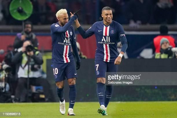 Neymar Jr of Paris Saint Germain, Kylian Mbappe of Paris Saint Germain during the French League 1 match between Paris Saint Germain v AS Monaco at...