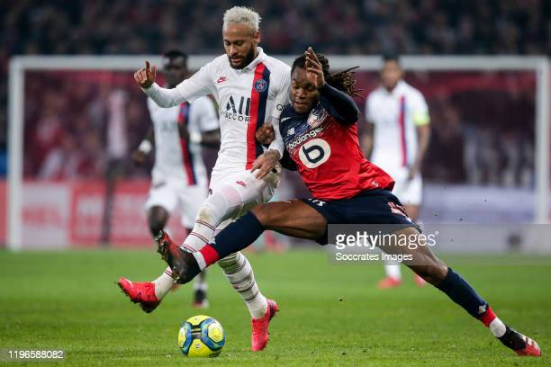 Neymar Jr of Paris Saint Germain, Renato Sanches of Lille during the French League 1 match between Lille v Paris Saint Germain at the Stade Pierre...