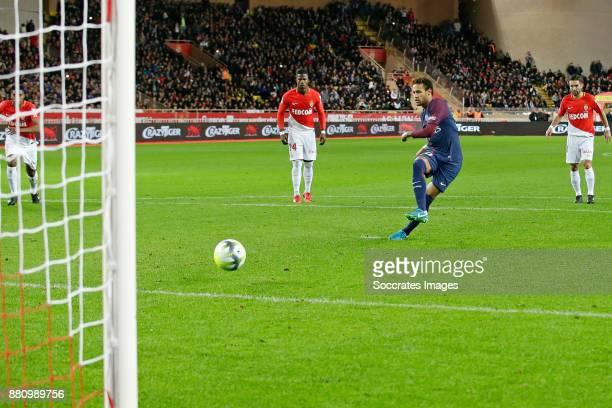 Neymar Jr of Paris Saint Germain scores the second goal to make it 02 during the French League 1 match between AS Monaco v Paris Saint Germain at the...