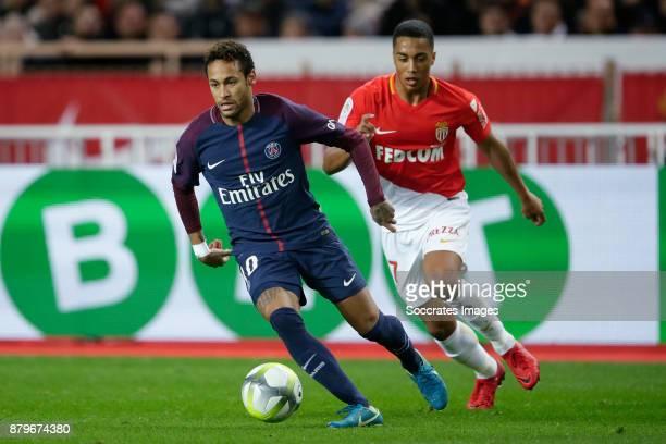 Neymar Jr of Paris Saint Germain Youri Tielemans of AS Monaco during the French League 1 match between AS Monaco v Paris Saint Germain at the Stade...