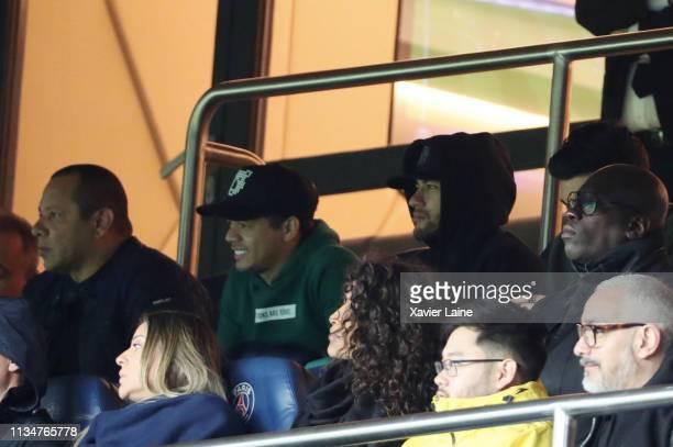 Neymar Jr of Paris SaintGermain and his father Neymar Sr react during the French Cup Semi Final match between Paris SaintGermain and FC Nantes at...