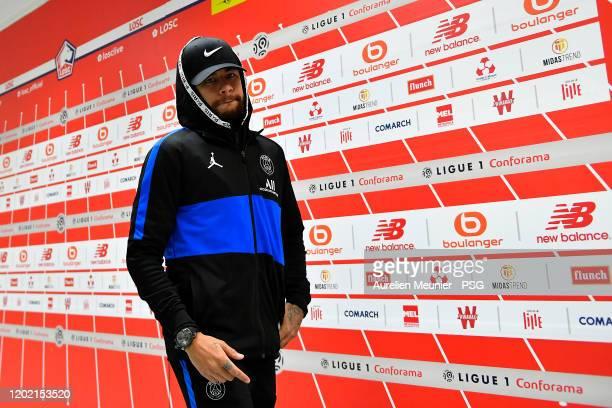 Neymar Jr of Paris Saint-Germain arrives to the stadium before the Ligue 1 match between Lille OSC and Paris Saint-Germain at Stade Pierre Mauroy on...