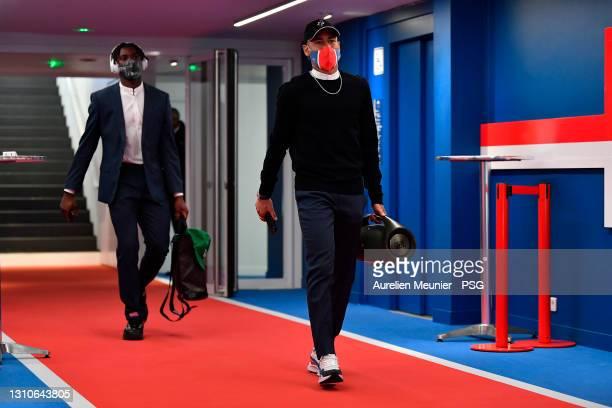 Neymar Jr of Paris Saint-Germain arrives to the stadium before the Ligue 1 match between Paris Saint-Germain and Lille OSC at Parc des Princes on...
