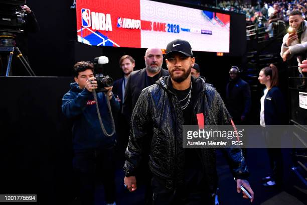 Neymar Jr of Paris SaintGermain attends the NBA match between the Milwaukee Bucks and the Charlotte hornets at AccorHotels Arena on January 24 2020...