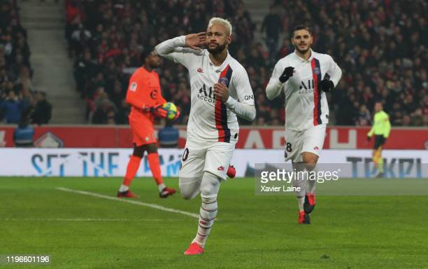 Neymar Jr of Paris SaintGermain celebrate his goal during the Ligue 1 match between Lille LOSC and Paris SaintGermain at Stade Pierre Mauroy on...
