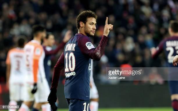 Neymar Jr of Paris SaintGermain celebrate his goal during the Ligue 1 match between Paris SaintGermain and Montpellier Herault SC at Parc des Princes...