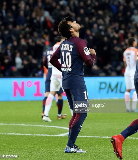 Neymar Jr of Paris SaintGermain celebrate his goal with a glove on the head during the Ligue 1 match between Paris SaintGermain and Montpellier...