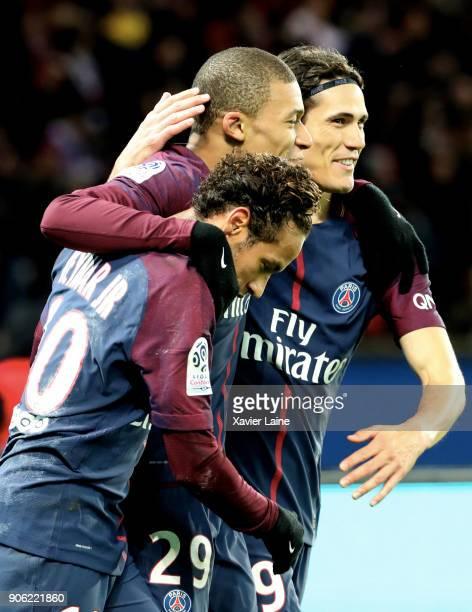 Neymar Jr of Paris SaintGermain celebrate his goal with Edinson Cavani and Kylian Mbappe during the Ligue 1 match between Paris SaintGermain and...
