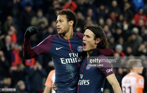 Neymar Jr of Paris SaintGermain celebrate his goal with Edinson Cavani during the Ligue 1 match between Paris SaintGermain and Montpellier Herault SC...