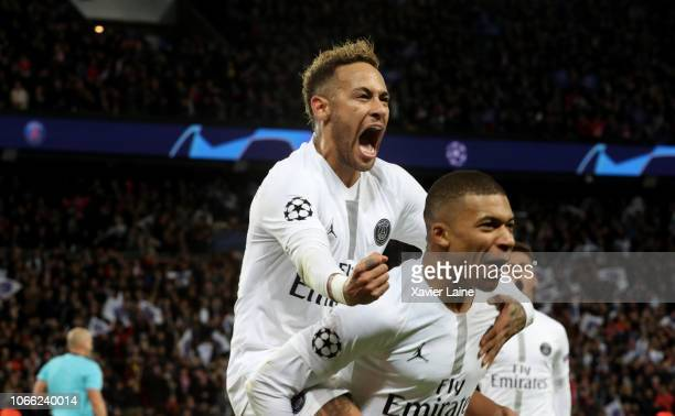 Neymar Jr of Paris SaintGermain celebrate his goal with Kylian Mbappe during the Group C match of the UEFA Champions League between Paris...