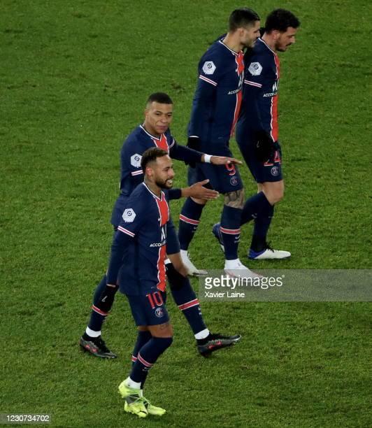 Neymar Jr of Paris Saint-Germain celebrate his goal with Kylian Mbappe during the Ligue 1 match between Paris Saint-Germain and Montpellier HSC at...
