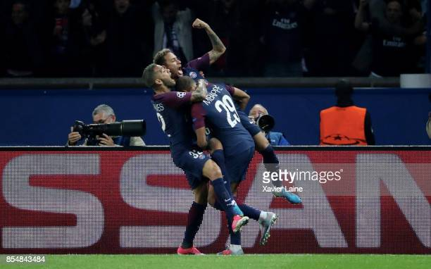 Neymar Jr of Paris SaintGermain celebrate his goal with Kylian Mbappe and Dani Alves during the UEFA Champions League group B match between Paris...