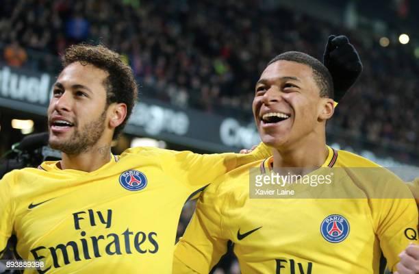 Neymar Jr of Paris SaintGermain celebrate his second goal with Kylian Mbappe during the Ligue 1 match between Stade Rennes and Paris Saint Germain at...