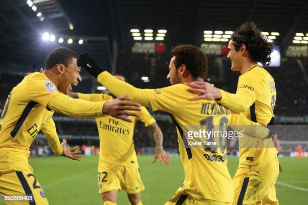 Neymar Jr of Paris SaintGermain celebrate his second goal with Kylian Mbappe and Edinson Cavani during the Ligue 1 match between Stade Rennes and...