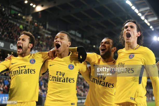 Neymar Jr of Paris SaintGermain celebrate his second goal with Kylian Mbappe Dani Alves and Edinson Cavani during the Ligue 1 match between Stade...