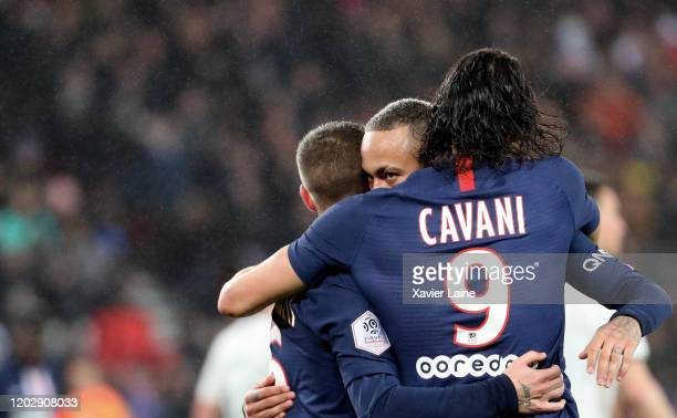 Neymar Jr of Paris SaintGermain celebrate the two hundredths goal of Edinson Cavani during the Ligue 1 match between Paris SaintGermain and Girondins...