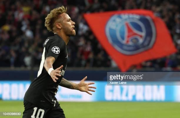 Neymar Jr of Paris SaintGermain celebrates his first goal during the Group C match of the UEFA Champions League between Paris SaintGermain and Red...