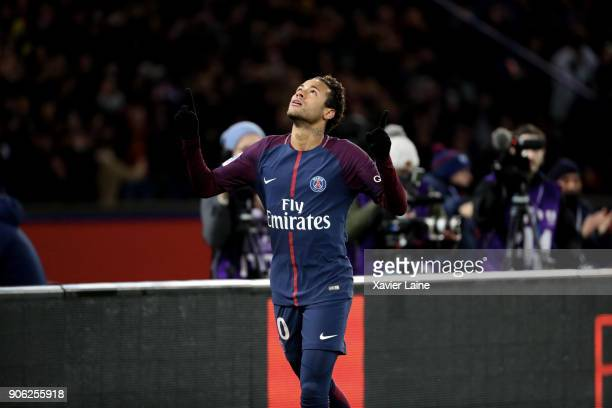 Neymar Jr of Paris SaintGermain celebrates his fourth goal during the Ligue 1 match between Paris SaintGermain and Dijon FCO at Parc des Princes on...