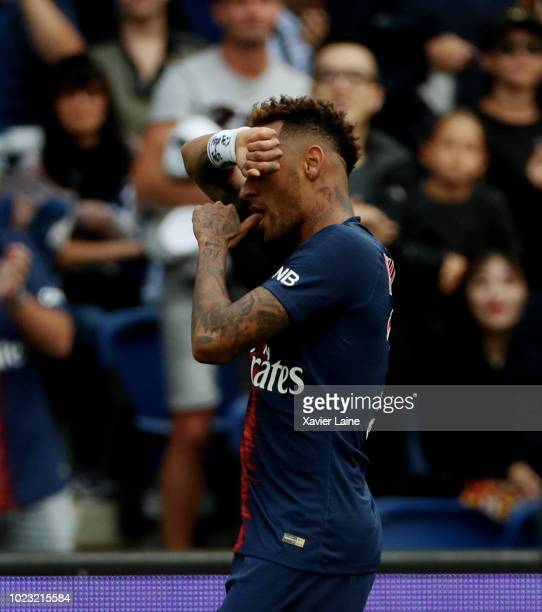 Neymar Jr of Paris SaintGermain celebrates his goal during the Ligue 1 match between Paris SaintGermain and SCO Angers at Parc des Princes on August...