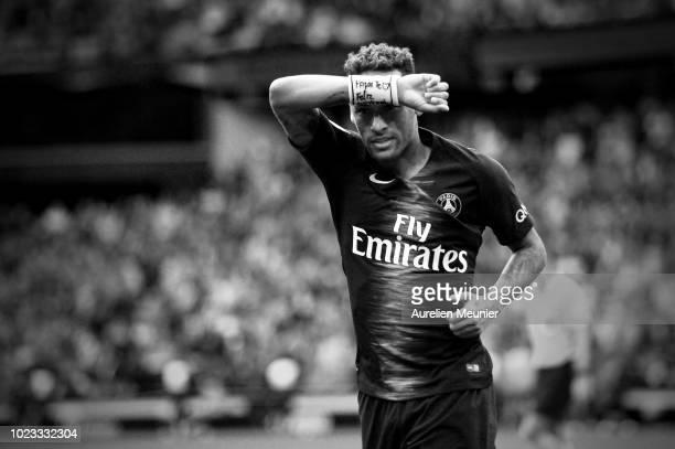 Neymar Jr of Paris SaintGermain celebrates his goal during the Ligue 1 match between Paris SaintGermain and Angers SCO at Parc des Princes on August...