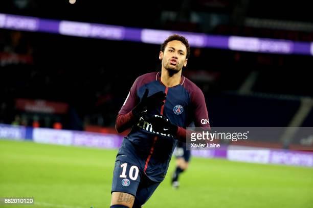 Neymar Jr of Paris SaintGermain celebrates his goal during the Ligue 1 match between Paris SaintGermain and Troyes Estac at Parc des Princes on...
