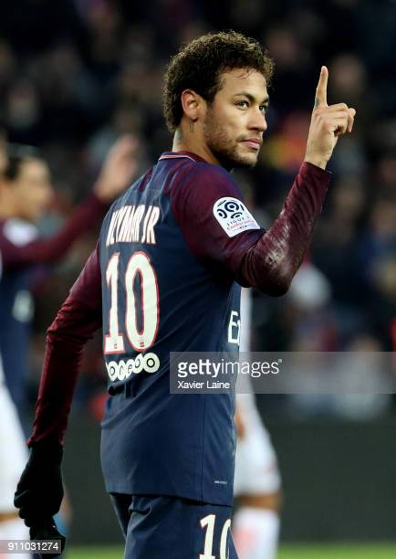 Neymar Jr of Paris SaintGermain celebrates his goal during the Ligue 1 match between Paris SaintGermain and Montpellier Herault SC at Parc des...