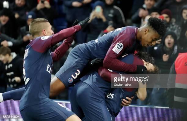 Neymar Jr of Paris SaintGermain celebrates his goal during with Marco Verratti and Presnel Kimpembe during the Ligue 1 match between Paris...