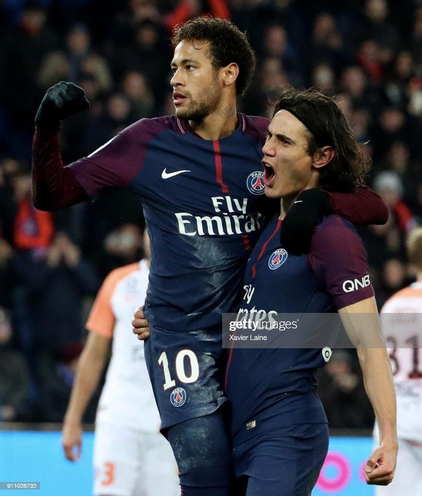 Neymar Jr of Paris Saint-Germain celebrates his goal with team-mate Edinson Cavani during the Ligue 1 match between Paris Saint-Germain (PSG) and Montpellier Herault SC at Parc des Princes on January 27, 2018 in Paris, France.