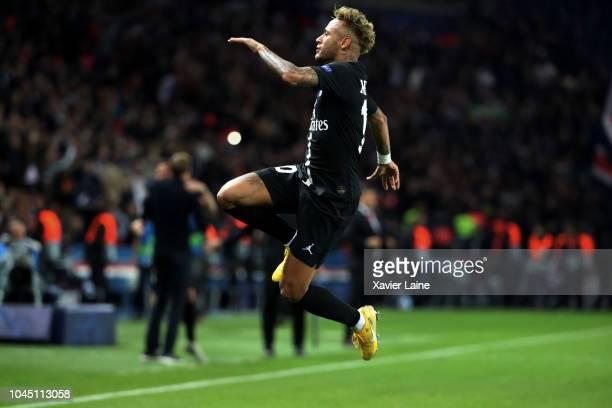 Neymar Jr of Paris SaintGermain celebrates his third goal during the Group C match of the UEFA Champions League between Paris SaintGermain and Red...