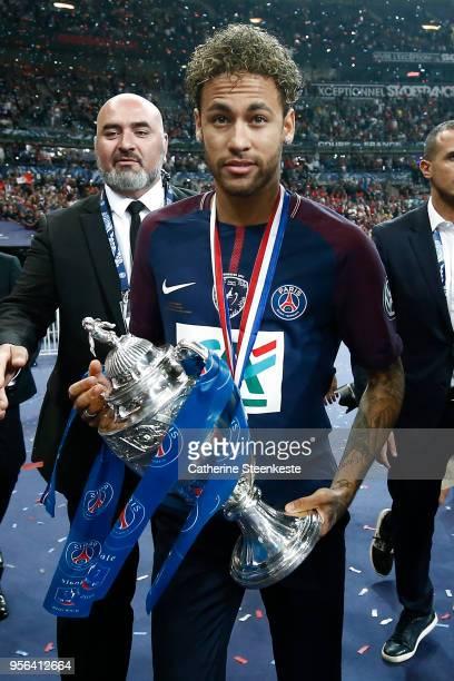 Neymar Jr of Paris SaintGermain celebrates the victory of the Coupe de France Final between Les Herbiers VF and Paris SaintGermain at Stade de France...