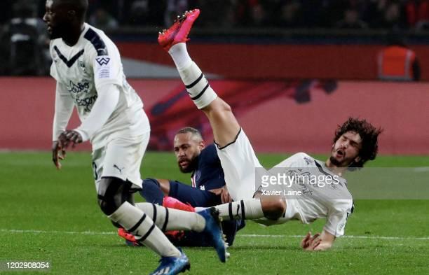 Neymar Jr of Paris Saint-Germain commits fault on Yacine Adli of Girondins Bordeaux and receiving a red card during the Ligue 1 match between Paris...