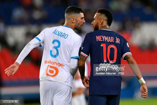 Neymar Jr of Paris SaintGermain confronts Alvaro of Olympique de Marseille during the Ligue 1 match between Paris SaintGermain and Olympique...