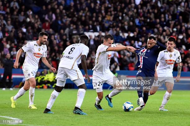 Neymar Jr of Paris Saint-Germain fights for the ball during the Ligue 1 match between Paris Saint-Germain and Angers SCO at Parc des Princes on...