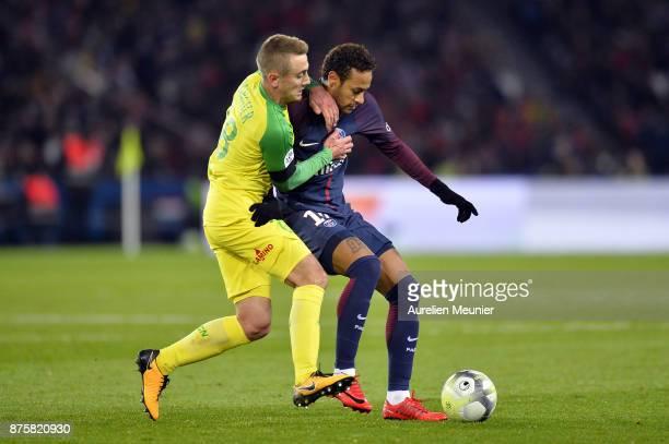 Neymar Jr of Paris SaintGermain fights for the ball during the Ligue 1 match between Paris Saint Germain and Nantes at Parc des Princes on November...