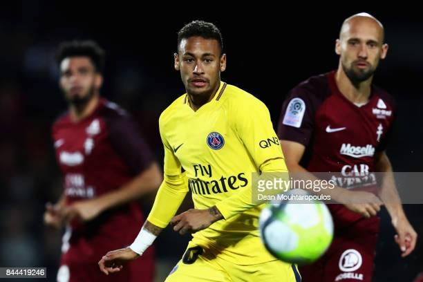 Neymar Jr of Paris Saint-Germain Football Club or PSG in action during the Ligue 1 match between Metz and Paris Saint Germain or PSG held at Stade...