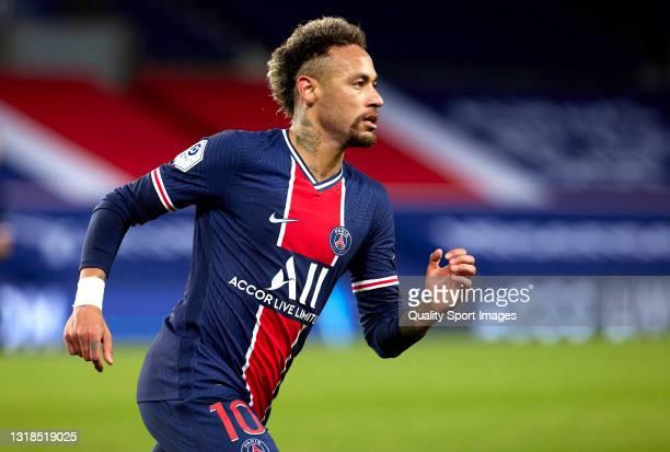 Neymar Jr of Paris Saint-Germain in action during the Ligue 1 match between Paris Saint-Germain and Stade Reims at Parc des Princes on May 16, 2021...