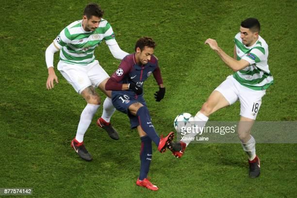Neymar Jr of Paris SaintGermain in action during the UEFA Champions League group B match between Paris SaintGermain and Celtic Glasgow at Parc des...
