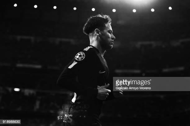Neymar JR of Paris SaintGermain in action during the UEFA Champions League Round of 16 First Leg match between Real Madrid and Paris SaintGermain at...