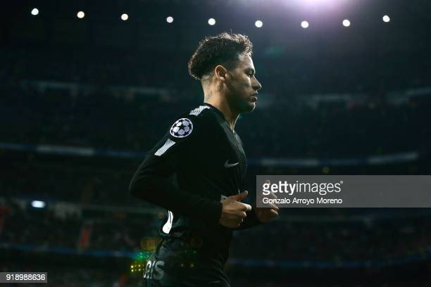 Neymar JR of Paris SaintGermain in action during the UEFA Champions League Round of 16 First Leg match between Real Madrid and Paris SaintGermain at...