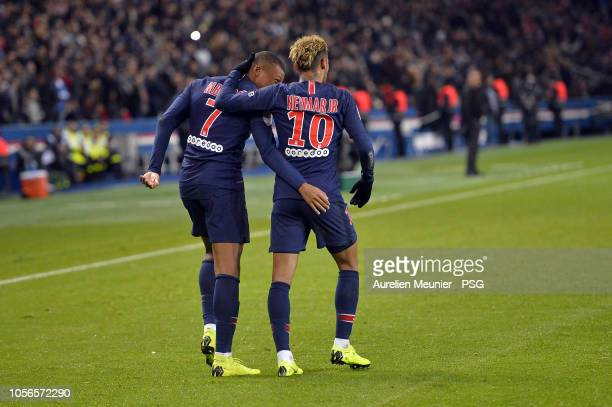 Neymar Jr of Paris SaintGermain is congratulated by teammate Kylian Mbappe after scoring during the ligue 1 match between Paris SaintGermain and...