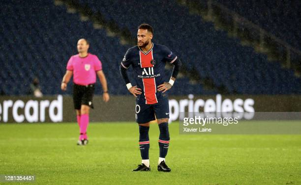 Neymar Jr of Paris SaintGermain is dissapointed during the UEFA Champions League Group H stage match between Paris SaintGermain and Manchester United...