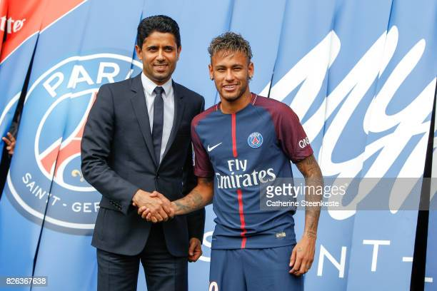 Neymar Jr of Paris SaintGermain is presented to the press by Nasser AlKhelafi President of Paris SaintGermain at Parc des Princes on August 4 2017 in...