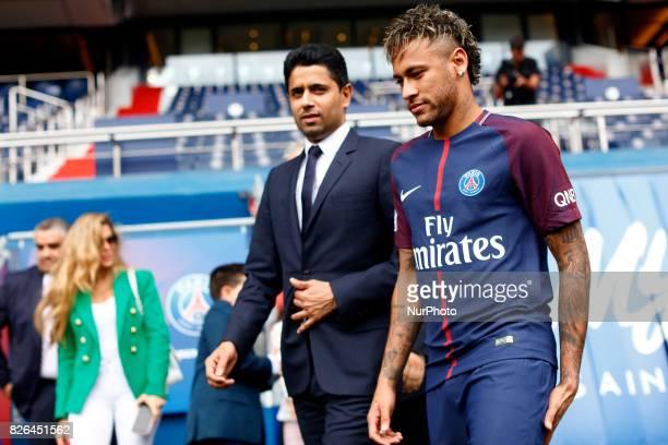 Neymar Jr of Paris SaintGermain is presented to the press by Nasser AlKhelafi President of Paris SaintGermain at Parc des Princes on August 4 2017 in...