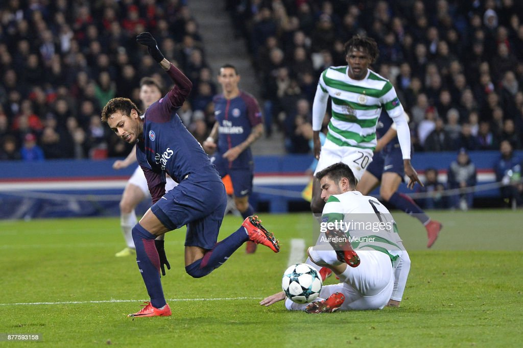 Neymar Jr, of Paris Saint-Germain is tackled by Nir Bitton of Celtic Glasgow during the UEFA Champions League group B match between Paris Saint-Germain and Celtic Glasgow at Parc des Princes on November 22, 2017 in Paris, France.