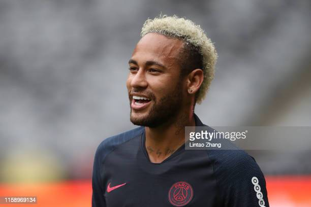 Neymar Jr of Paris SaintGermain looks during the training session ahead of the French Trophy of Champions football match between Rennes and Paris...