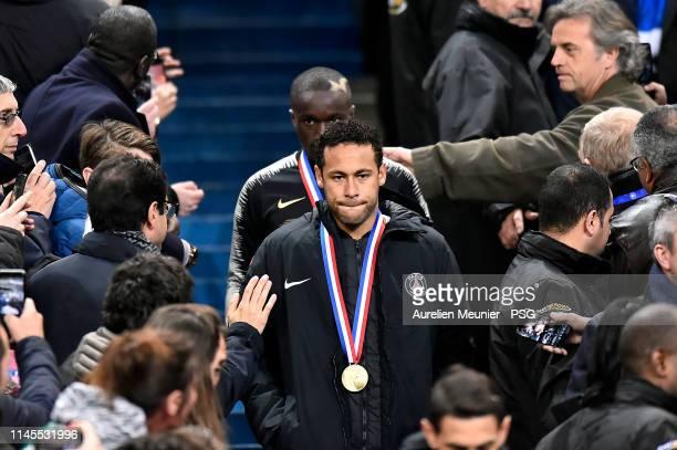 Neymar Jr of Paris Saint-Germain looks on as he walks down the tribune after loosing the French Cup Final match against Stade Rennais at Stade de...